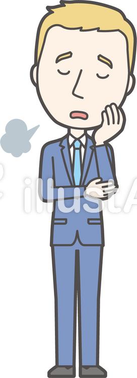 白人スーツ男性-077-全身のイラスト