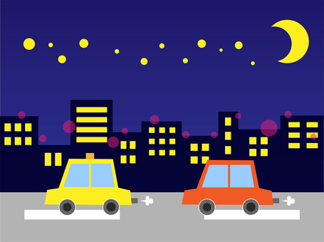 Illustration of driving agency and night view