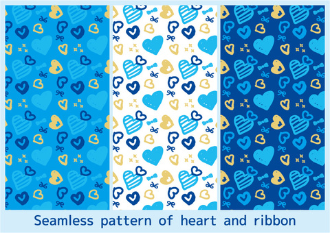 Pattern 02_ Heart and ribbon blue series