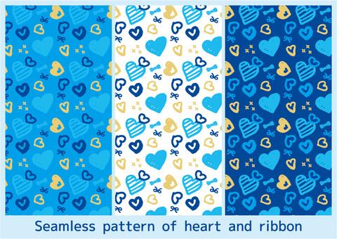パターン02_ハートとリボン青系