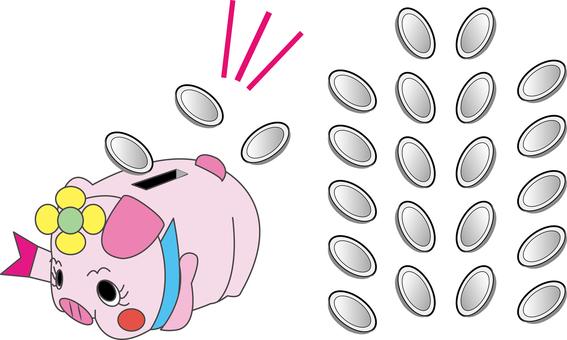 Pig's Piggy Bank and Money