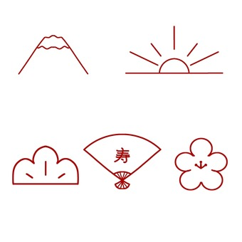 Japanese style crimson icon set