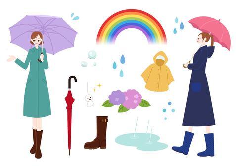 Fashionable women - rainy season
