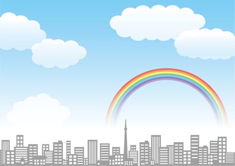 A city with a rainbow