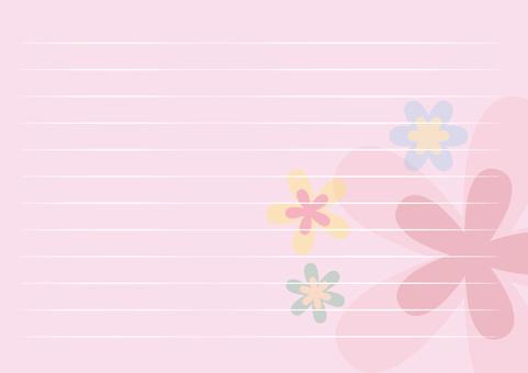 레터 용지 가로 핑크 꽃