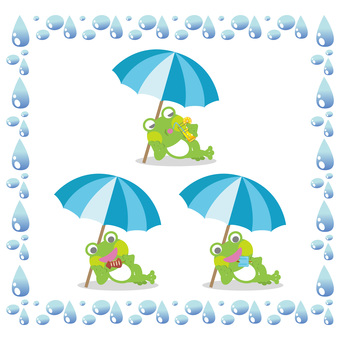 Frog illustration set under a parasol