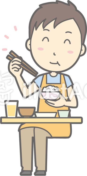 保育士男性-おいしい和食-全身のイラスト