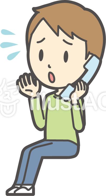 男の子グリーン長袖-312-全身のイラスト