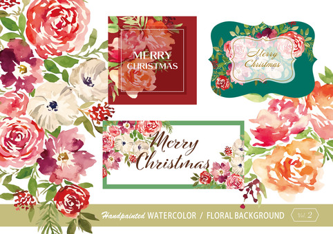 Water color flower background material 2