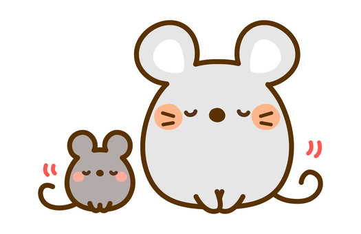 Mouse parent and child greeting