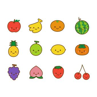Cute fruits set