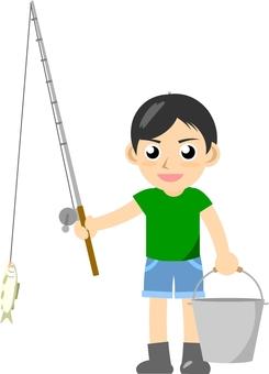 A boy fishing