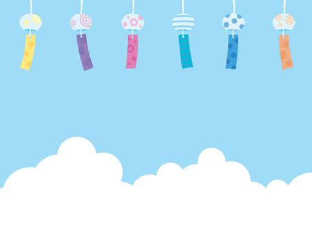 Wind chimes and blue sky illustration