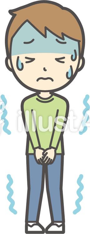 男の子グリーン長袖-041-全身のイラスト