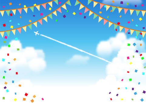 Confetti background with flag and contrails