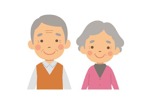 Old couple half body basic pose
