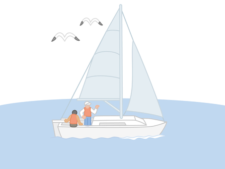 Ocean sailboat and seagulls