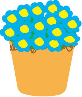 Potted flowers (aqua)