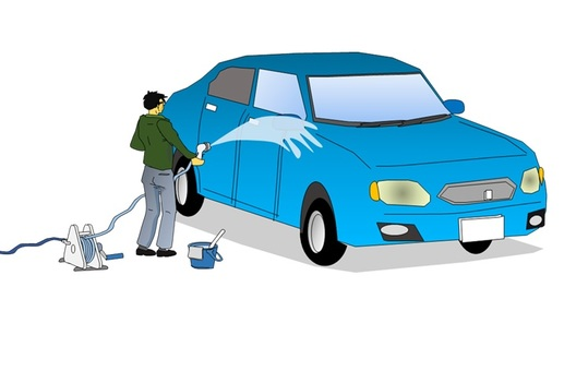 Men in car wash