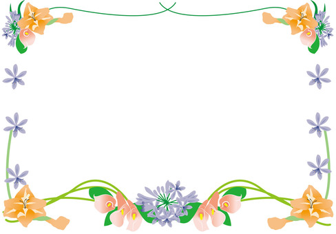 Summer flower bouquet frame