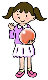 打保齡球的女孩
