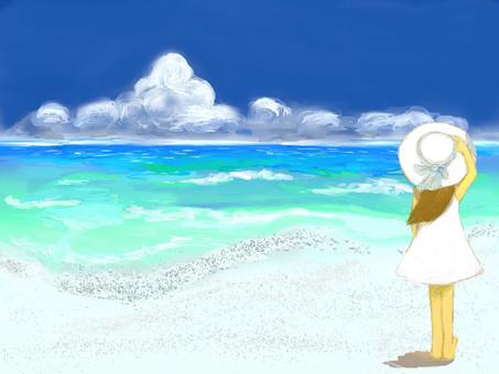 여름 풍경 바다와 소녀