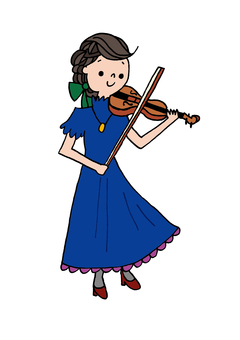 A woman playing a violin
