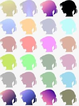 여성 옆모습 색 구성표