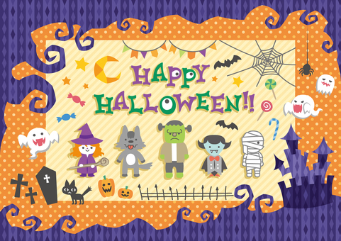 Colorful pop halloween set