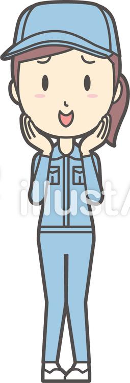作業員女性ブルー-020-全身のイラスト