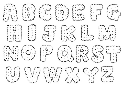 Handwritten biscuit alphabet