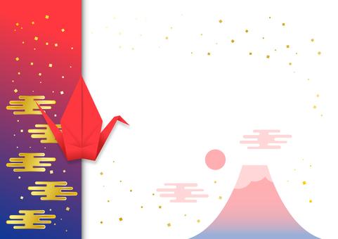 Red Fuji message card with folding crane (sideways)