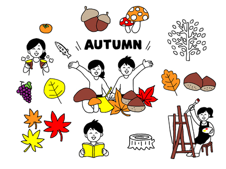 Autumn men and women illustration set (simple)
