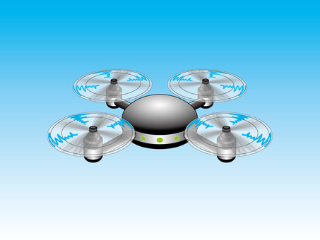 Flying black round drone