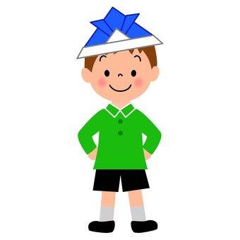 A boy with a helmet