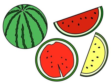 Watermelon set (black frame · no gloss / single color)