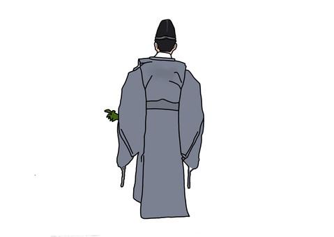 Shinto shrine backward appearance of Shinto priest