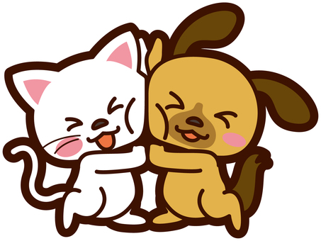 A good illustration of a dog and a cat