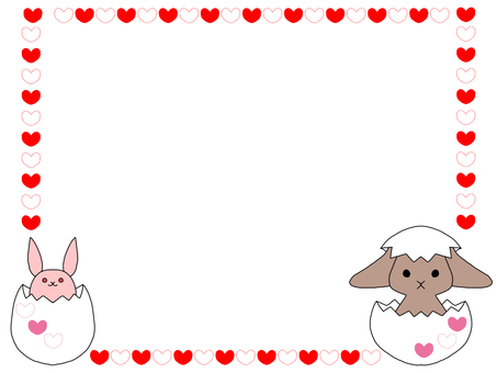 Easter rabbit and heart frame