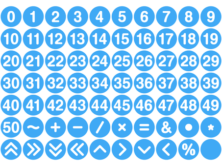 Numeric and symbol set Round (light blue)