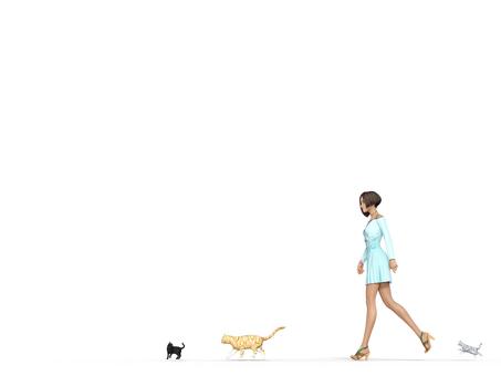 A walking woman and three cats