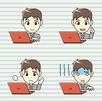 印刷物向け-パソコンと男性 表情セット