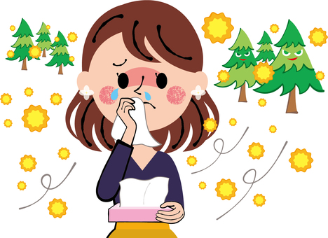 A woman holding a hay fever tissue and wiping tears and runny nose