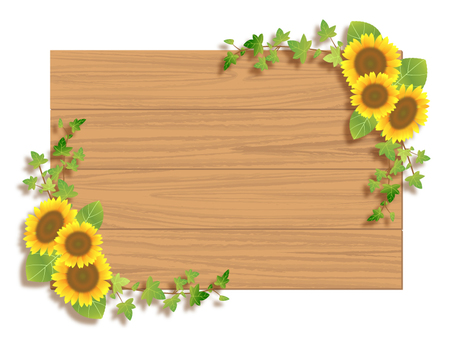 Sunflower and wood frame 01