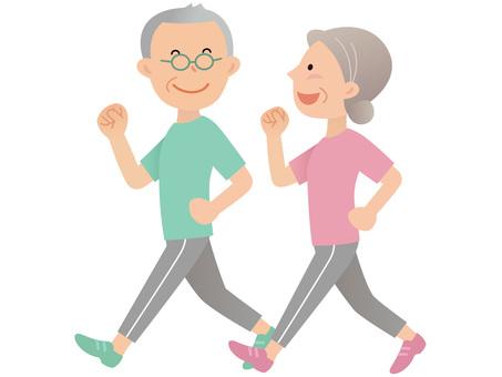 60715. Senior couple walking