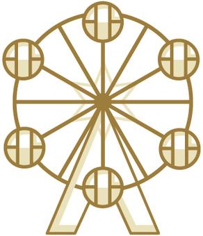 Gold Ferris wheel icon