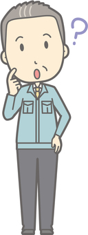 Middle-aged man work clothes - Hatena - whole body