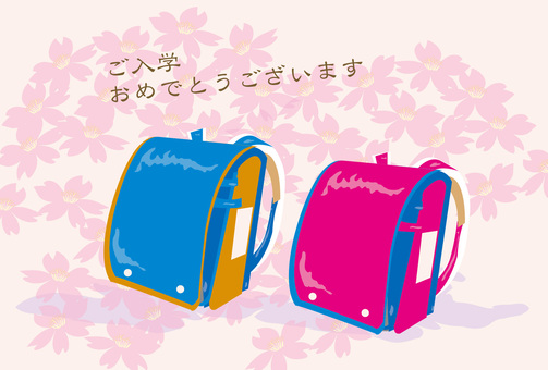 Celebration of entrance ceremony and pink and blue school bag