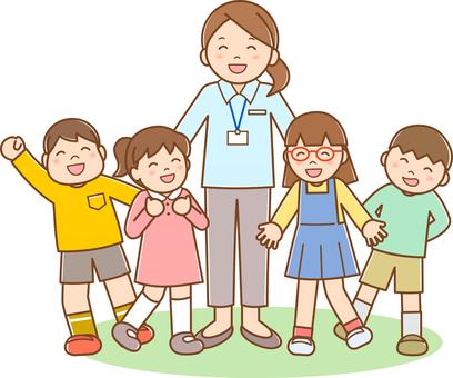 Teacher and children line