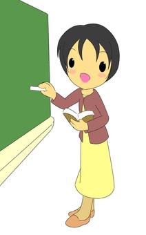 女老師和黑板
